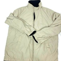 Nautica Reversible Jacket Mens's Large Beige Blue Reversible Zipper Front  - $37.03