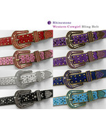 "35158 Rhinestone Belts Western Bling Crystal Studded Leather Belt 1-3/8""... - $29.65"