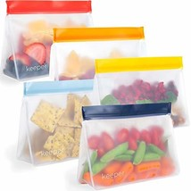 Keeper Reusable Snack Bags Set of 5, 32 oz - Reusable Sandwich Bags for Kids Are