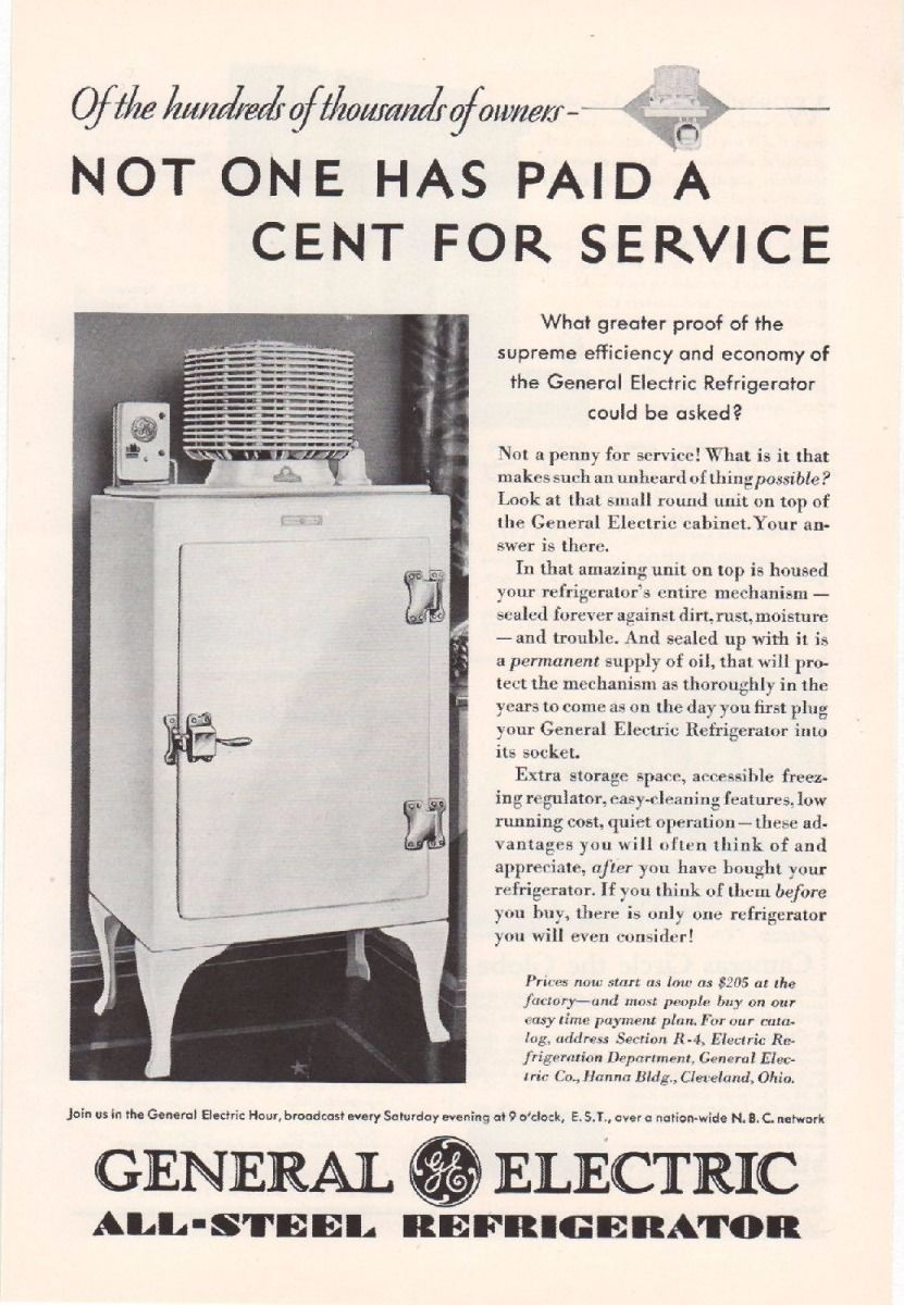 1930 GE Monitor Top Refrigerator Ad Old Kitchen Appliance Ice Box Vintage S77