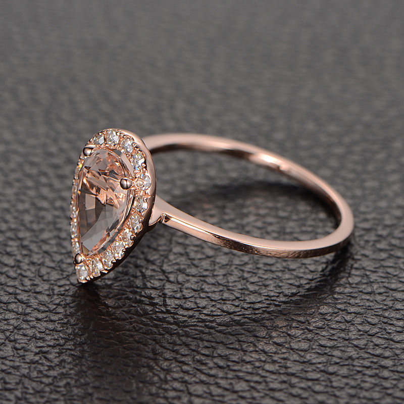vvs2 pear cut morganite engagement ring with halo. Black Bedroom Furniture Sets. Home Design Ideas