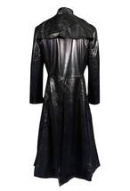 Mens Matrix Keanu Revees Neo Black Long Length Gothic Leather Trench Coat image 2