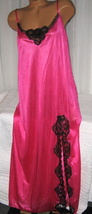 Fuchsia Pink Black Lace Trim Front Slit Long Night Gowns 2X Nylon - $23.00