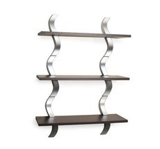 Wooden Wall Shelves Decor Shelf Metal Display Storage Mount Contemporary... - $169.99