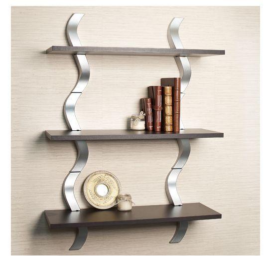 Wooden Wall Shelves Decor Shelf Metal Display Storage Mount Contemporary Room