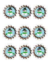 Snowman Bottlecap-Download-ClipArt-ArtClip-Bottle Cap-Digital - $2.00