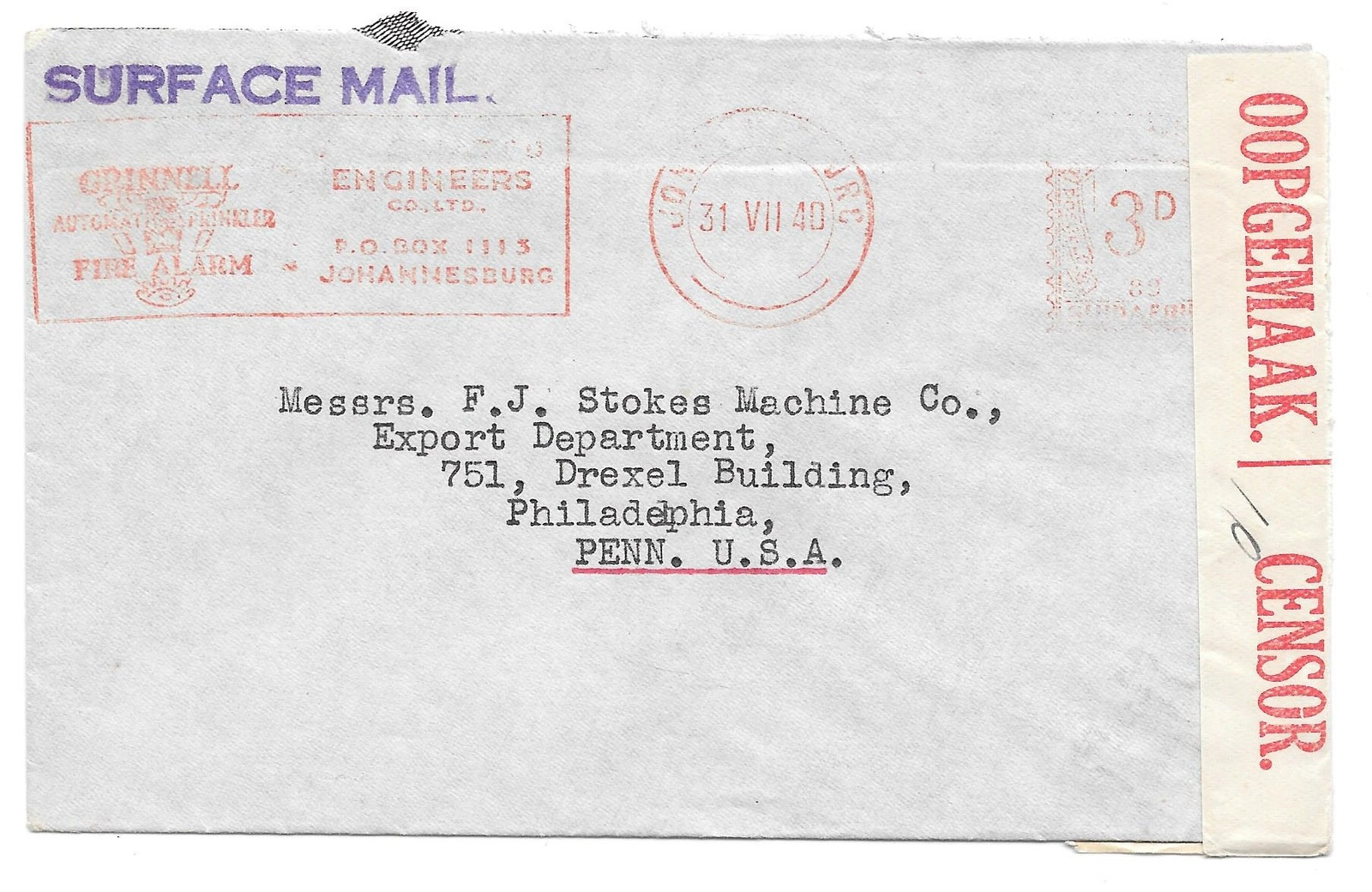 Censored Cover South Africa Johannesburg to US 1940 Grinnell Advert Meter Cancel