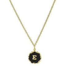 Necklace Gold Tone Edged Black Enamel Initial E Pendant Free Shipping - $22.65