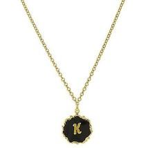 Necklace Gold Tone Edged Black Enamel Initial K Pendant Free Shipping - $22.65
