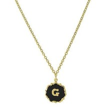 Necklace Gold Tone Edged Black Enamel Initial G Pendant Free Shipping - $22.65