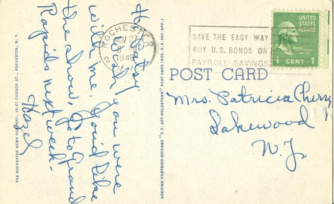 Beauty Spot in Genesee Valley Park, Rochester, NY, 1948 used linen Postcard