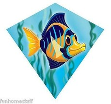 "ANGEL FISH 18"" MINI DIAMOND NYLON FLYING WIND KITE + FREE LINE & WINDER ... - $16.99"