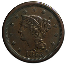 1853 Large Cent Liberty Braided Hair Head Coin Lot # MZ 3074