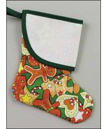 Green Gingerbread Mini Christmas Stocking with trim pre-finished  - $7.65