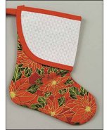 Red Poinsettia Mini Christmas Stocking with tri... - $7.65