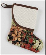 Brown Floral Mini Christmas Stocking pre-finished cross stitch stocking - $7.65