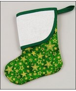 Green Stars Mini Christmas Stocking with trim p... - $7.65