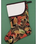 Brown Leaves Large Christmas Stocking pre-finished cross stitch stocking - $26.50