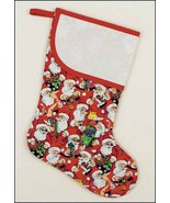 Santa's Workshop Large Christmas Stocking pre-finished cross stitch stoc... - $26.50