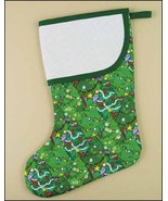 Green Forest Large Christmas Stocking pre-finished cross stitch stocking - $26.50