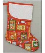 Red Christmas Vision Large Christmas Stocking pre-finished cross stitch ... - $26.50