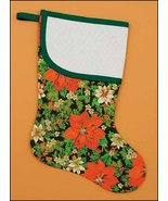 Poinsettia Large Christmas Stocking pre-finished cross stitch stocking - $26.50