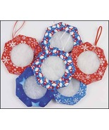 "Winter Tuck Ornament 3"" - set 6 assorted fabrics handmade tuck ornaments... - $19.35"