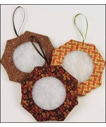 "Fall Tuck Ornament 2"" - set 6 assorted handmade tuck ornaments cross stitch - $19.35"