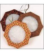 "Fall Tuck Ornament 3"" - set 6 assorted fabrics handmade tuck ornaments - $19.35"