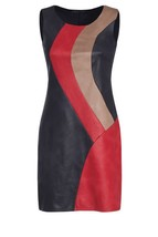 Color Block Women Genuine Lambskin Leather Sleeveless Leather  Dress - $176.00