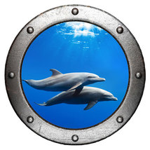 Dolphin Porthole Wall Sticker,Wall decal,remova... - $10.99