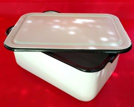 "Enamelware Medical Instrument Tray with Lid White w/ Black Trim 13¼"" x 9... - $39.95"