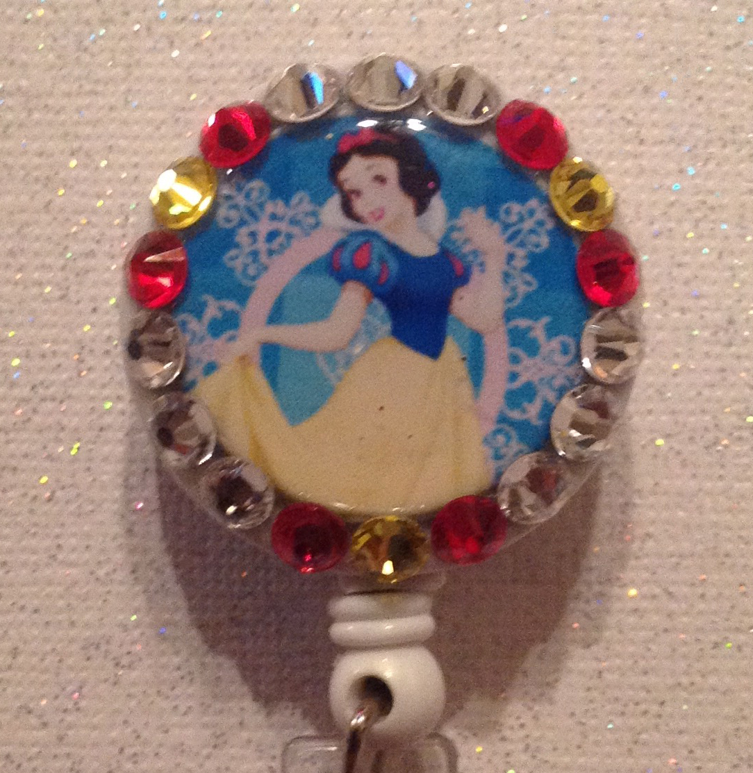 Primary image for Disney Snow White Badge Reel - Snow White Id Holder Lanyard - Swarovski Crystals