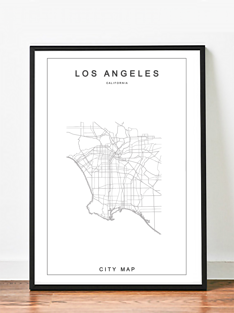 Los angeles city map poster white minimalist design print for Minimalist house los angeles