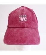 Vivian Roe Vintage Washed Maroon Embroidered Womens Baseball Cap Hat Adj... - $19.25