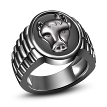 Black Diamond Black Gold Plated 925 Solid Silver Astrology Taurus Zodiac Ring - $112.99