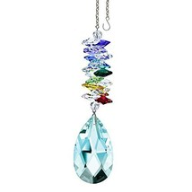 "Crystal SunCatcher 5"" Colorful Crystals Swarovski Antique Green Almond Prism - $28.50"