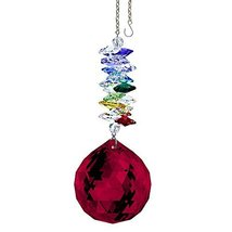 "Crystal SunCatcher 5"" Multicolored Crystals Swarovski Red Ball Prism Ornament - $31.85"