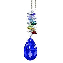 "Crystal SunCatcher 5"" Colorful Crystals Swarovski Dark Sapphire Almond Prism - $28.50"