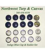 Snap Fastener's, Indigo Blue, Stainless Steel, Cap & Socket Only, 10 Piece - $8.56