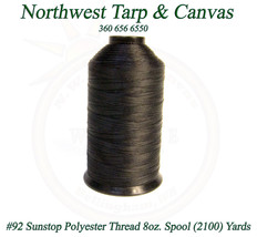 Thread, # 92 Polyester, SunStop, Black,  8 Ounce Spool, 2100 Yards / 192... - $34.89