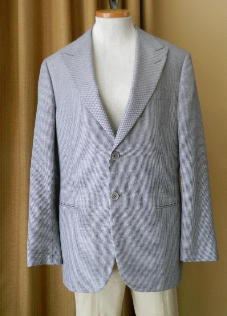 GIORGIO ARMANI Sport Coat Blazer Silk Wool Black White Small Check 52 IT