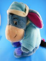 "Disney Eeyore Plush in Snoman Shirt & Fleece Hat & Scarf 12"" Winnie The ... - $13.26"