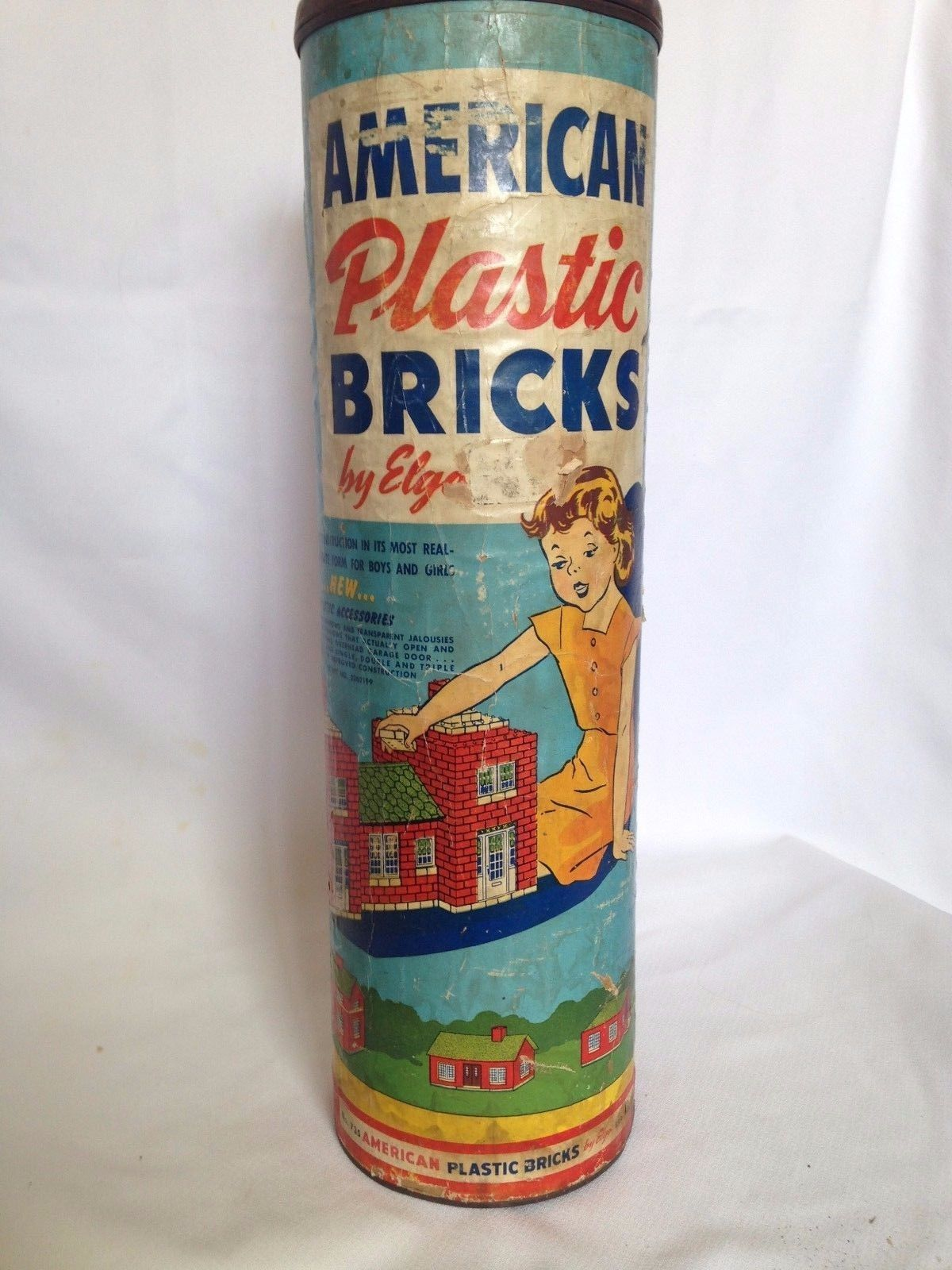 American Plastic Bricks by Elgo Original Container and Building Instructions
