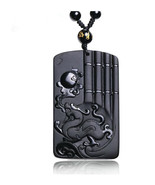 natural Obsidian stone Hand carved Chinese dragon pendant necklace - $19.79