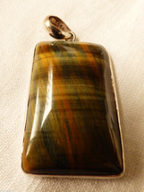 Artisan Hand Crafted Sterling Silver 925 Amazing Tiger Eye Stone Pendant - $127.71