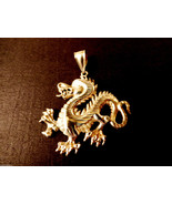 Whimsical Sterling Silver 925 diamond cut signed large Dragon  Pendant  ... - $91.08