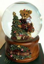 Boyds Bears And Friends Musical Snow Globe Elliot And The Tree Retired H... - $31.84