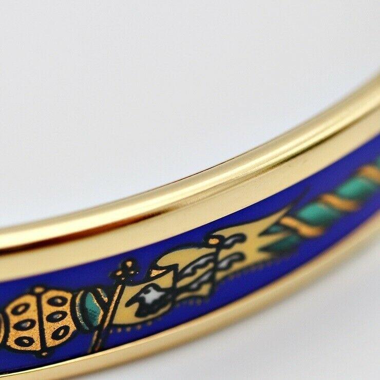 Hermes enamel PM Bangle Gold Blue Ladies Auth