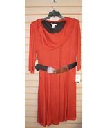 NEW AMANDA LANE WOMENS PLUS SIZE 2X RUST ORANGE COWL NECK BELT DRESS SO ... - $21.28